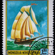 MONGOLIA - CIRCA 1981: A stamp printed in the Mongolia shows Schooner of America, one stamp from series, circa 1981 — Stock Photo