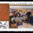 "USSR - CIRCA 1967: A stamp printed in the USSR honoring 50 years of the USSR shows draw by Sergey Gerasimov ""Holiday on the collective farm"", circa 1967 — Stock Photo"