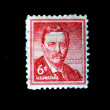 UNITED STATES OF AMERICA - CIRCA 1963: A stamp printed in the United States of America shows image of former President Theodore Roosevelt series, circa 1963 - Stock Photo
