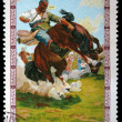 Stock Photo: MONGOLI- CIRC1975: stamp printed in Mongolishows taming unbroken horse, circ1975