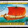 MONGOLIA - CIRCA 1981: stamp printed by Mongolia, shows Egyptian Ship of 15th Century, circa 1981 — Stock Photo