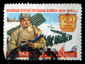 USSR - CIRCA 1965: A stamp printed in the USSR devoted to 20 years of battle on Volga river, circa 1965 — Stock Photo