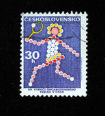 CZECHOSLOVAKIA - CIRCA 1972: A stamp printed in Czechoslovakia devoted to 80 years established the Czech Republic Tennis Federation, circa 1972 — Stock Photo