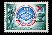 USSR - CIRCA 1972: A stamp printed in the USSR devoted 100 years of the Central Museum of Communications, named Alexander Popov, circa 1972 — Foto de Stock