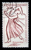 CZECHOSLOVAKIA - CIRCA 1958: A Stamp printed in Czechoslovakia shows woman playing the harp, series honoring 150 years of Prague Conservatory, circa 1958 — Stock Photo