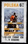 1972 年頃 - ポーランド: ポーランドの馬に乗って、ポーランド語に専用の印刷スタンプ蜂起、1831 年、1972 年頃、11 月中にライダーを示します — ストック写真