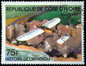 IVORY COAST - CIRCA 1977: A stamp printed in The Ivory Coast shows The Blériot XI is the aircraft in which, Louis Blériot made the first flight across the English Channel, circa 1977. — Stock Photo