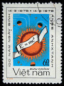 VIETNAM - CIRCA 1979: A stamp printed in Vietnam shows Albert Einstein famous formula, series, circa 1979 — Zdjęcie stockowe