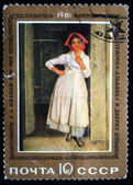 "USSR - CIRCA 1981: A stamp printed in the USSR shows a painting ""Albanian Girl in Doorway"" — Stockfoto"