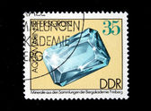 DDR - CIRCA 1985: A stamp printed in DDR (East Germany) shows semiprecious stone Aquamarin, circa 1985 — Stock Photo