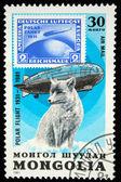 MONGOLIA - CIRCA 1981: stamp printed by Mongolia, shows Graf Zeppelin and polar fox, circa 1981 — Stock Photo