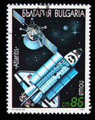 BULGARIA - CIRCA 1991: A stamp printed in Bulgaria shows spaceship Atlantis, circa 1991 — Foto Stock