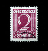 AUSTRIA - CIRCA 1928: Austrian postage stamp showing the spike in the center of a nominal value of 2 kronen, circa 1928 — Stock Photo