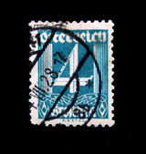 AUSTRIA - CIRCA 1928: Austrian postage stamp showing the spike in the center of a nominal value of 4 kronen, circa 1928 — Stock Photo