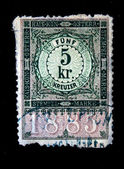 AUSTRIA - CIRCA 1885: Austrian postage stamp showing the spike in the center of a nominal value of 5 kronen, circa 1885 — Stock Photo