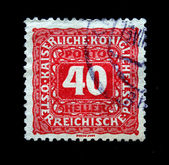 AUSTRIA - CIRCA 1922: Austrian postage stamp showing the spike in the center of a nominal value of 40 kronen, circa 1922 — Stock Photo