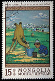 "MONGOLIA - CIRCA 1970s: A stamp printed in Mongolia shows draw ""Camel calf"" by Avarzad, circa 1970s — Stock Photo"