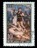 "USSR- CIRCA 1961: A stamp printed by the USSR shows the ballet ""The Swans Lake"", circa 1961 — Stock Photo"
