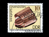 DDR - CIRCA 1985: A stamp printed in DDR (East Germany) shows semiprecious stone Bandjaspis, circa 1985 — Stock Photo