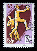 USSR - CIRCA 1963: stamp printed in the USSR (Russia) shows Basketball with the inscription and name of a series — Stock Photo