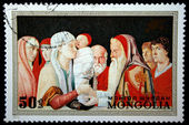 """MONGOLIA - CIRCA 1972: A stamp printed in Mongolia shows draw """"The Presentation in the Temple"""" by Bellini, circa 1972 — Photo"""