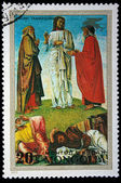 "MONGOLIA - CIRCA 1972: A stamp printed in Mongolia shows draw ""Transfigurati on"" by Bellini, circa 1972 — Foto de Stock"