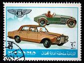 MANAMA (AJMAN) - CIRCA 1970s: A stamp printed in emirate Bahrain of the United Arab Emirates shows Bentley cars, series, circa 1970s — Stock Photo