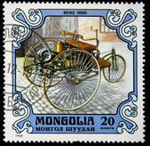MONGOLIA - CIRCA 1980: A stamp printed in the Mongolia shows vintage automobile Benz 1885 year, one stamp from series, circa 1980 — Stock Photo