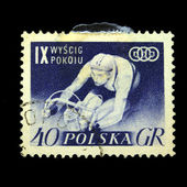 POLAND - CIRCA 1955: A stamp printed in Poland shows bicycler, circa 1955 — Zdjęcie stockowe