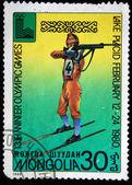 MONGOLIA - CIRCA 1980: A stamp printed in Mongolia shows biathlon, circa 1980 — Stock Photo