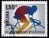 POLAND - CIRCA 1970s: A stamp printed in Poland shows bicyclist, circa 1970s — Stock fotografie