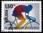 POLAND - CIRCA 1970s: A stamp printed in Poland shows bicyclist, circa 1970s — ストック写真