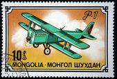 MONGOLIA - CIRCA 1976: Postal stamp Mongolia, circa 1976. Vintage stamp depicting old airplane — Stock Photo