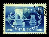 HUNGARY - CIRCA 1949: A stamp printed in Hungary shows bridge over the Danube, circa 1949 — Stock Photo