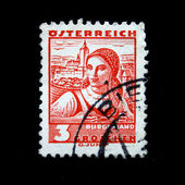 AUSTRIA - CIRCA 1934: A stamp printed in Austria (state Burgenland) shows woman with apple basket, circa 1934 — Foto Stock