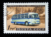 USSR - CIRCA 1960s: A stamp printed in the USSR shows Bus LAZ-697 Tourist, circa 1960s — Stock Photo