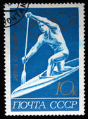 USSR - CIRCA 1972: A stamp printed in the USSR shows an oarsman on a kayak, series devoted to Olimpic games in Munchen, circa 1972 — Stock Photo