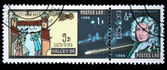 LAOS - CIRCA 1986: A stamp printed in Laos devoted to comet Halley, circa 1986 — Foto Stock