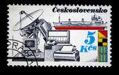 CZECHOSLOVAKIA - CIRCA 1978: A Stamp printed in Czechoslovakia shows communication equipment and ship, circa 1978 — Stockfoto