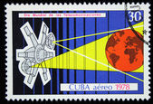 CUBA - CIRCA 1978: A stamp printed in Cuba devoted cosmos communications, circa 1978 — Stock Photo