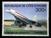 COTE D IVOIRE - CIRCA 1971: A stamp printed in Cote d Ivoire shows Concord, series devoted history of aviation, circa 1971 — Stock Photo