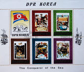 DEMOCRATIC PEOPLES REPUBLIC (DPR) of KOREA - CIRCA 1980:A stamp printed in DPR Korea (North Korea) shows The Conqueror of Sea, circa 1980 — Stock Photo