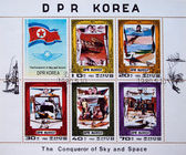 DEMOCRATIC PEOPLES REPUBLIC (DPR) of KOREA - CIRCA 1980: A stamp printed in DPR Korea (North Korea) shows The Conqueror of Sky and Space, circa 1980 — Stockfoto