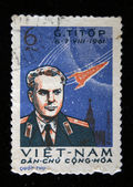 VIETNAM - CIRCA 1961: A stamp printed in Vietnam shows Soviet cosmonaut Gherman Titov, series, circa 1961 — Stockfoto