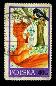 POLAND - CIRCA 1968: A stamp printed in Poland shows crow and the fox, circa 1968 — Stock Photo