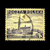 POLAND - CIRCA 1933: A stamp printed in Poland shows view of Czestochowa - Jasna Gora, circa 1933 — Stock Photo