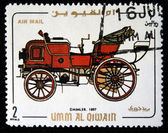 UMM AL QIWAIN - CIRCA 1968: A stamp printed in one of the emirates in the United Arab Emirates shows vintage car Daimler - 1897 year, full series - 48 of stamps, circa 1968 — Stock Photo