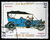 UMM QIWAIN - CIRCA 1968: A stamp printed in one of the emirates in the United Arab Emirates shows vintage car Daimler - 1910 year, full series - 48 of stamps, circa 1968 — Stock Photo