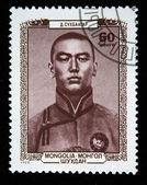 およそ 1980年 - モンゴル: モンゴルの印刷スタンプに示します 1980年年頃の damdin スフバートル — ストック写真
