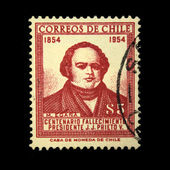 CHILE - CIRCA 1954: A stamp printed in Chile shows Centenary of Death of President J.J. Prieto V, circa 1954 — Stock Photo